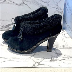 Colin Stuart half Suede booties with faux furtrim.